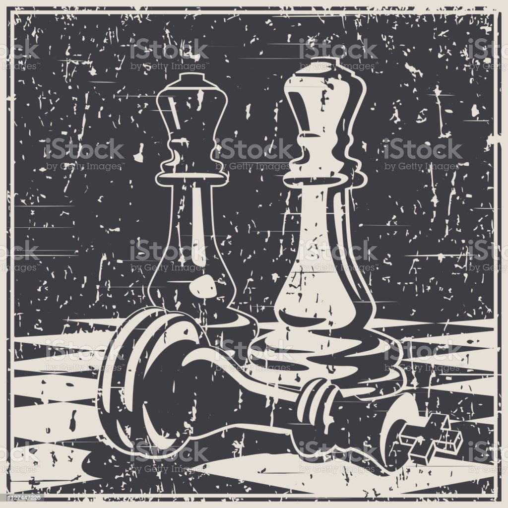 Chess Game Concept And Strategy Old Poster Illustration