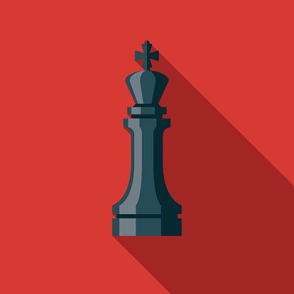 Chess Game Flat Design Icon