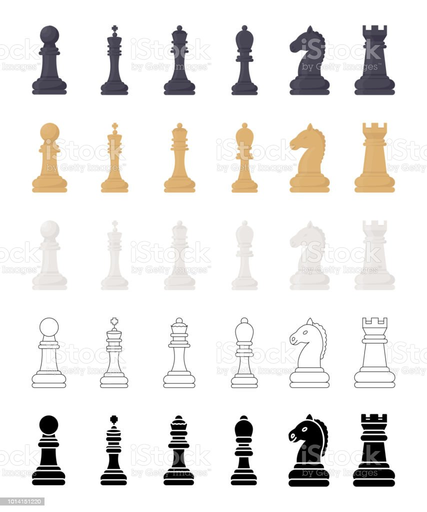 Chess Game Pieces Vector Icons Set Stock Vector Art More Images Of