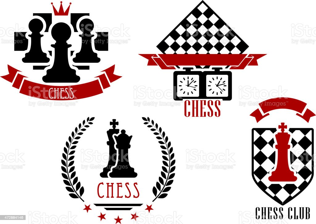 Chess game sports emblems vector art illustration