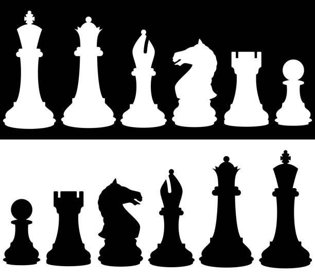 Chess Icon Silhouette Set Vector silhouettes of chess piece icons. chess knight silhouette stock illustrations