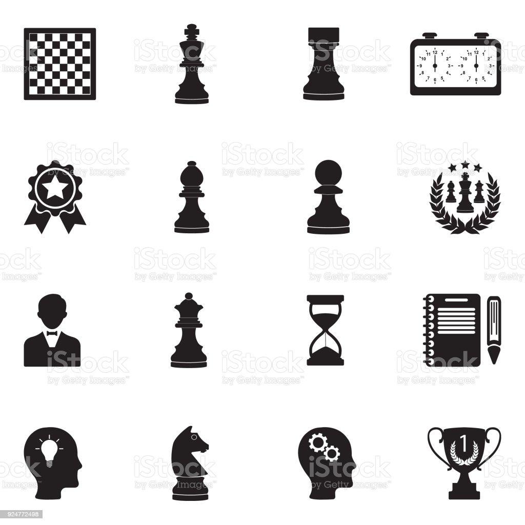 Chess Icons. Black Flat Design. Vector Illustration. vector art illustration