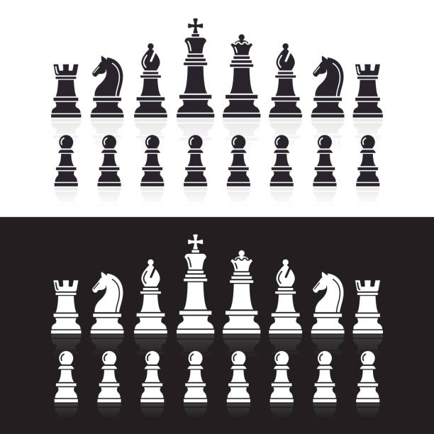 Chess icons. Chess icons.  chess knight silhouette stock illustrations