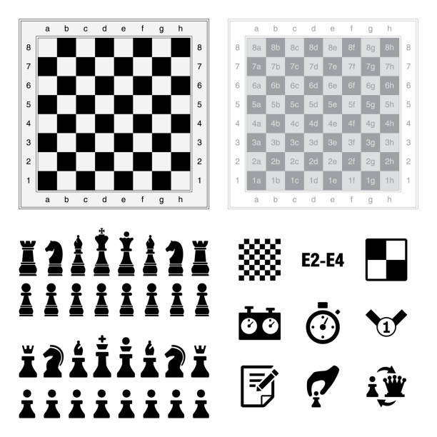 Chess icons. Chess icons on white background. Vector illustration. chess knight silhouette stock illustrations
