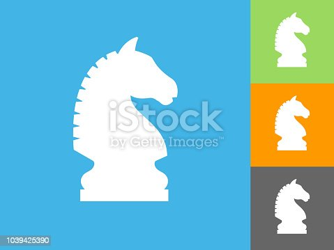 Chess Knight Flat Icon on Blue Background. The icon is depicted on Blue Background. There are three more background color variations included in this file. The icon is rendered in white color and the background is blue.
