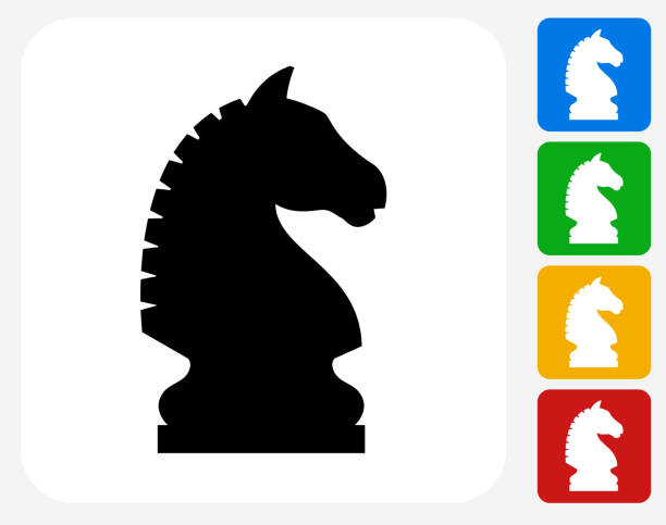 Chess Knight Icon Flat Graphic Design Chess Knight Icon. This 100% royalty free vector illustration features the main icon pictured in black inside a white square. The alternative color options in blue, green, yellow and red are on the right of the icon and are arranged in a vertical column. chess knight silhouette stock illustrations