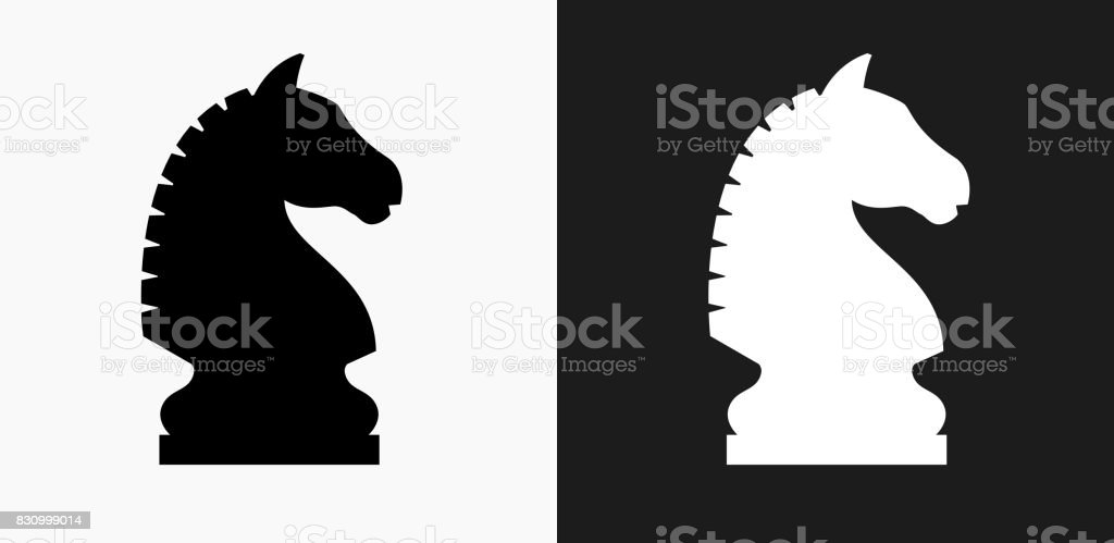 Chess Knight Icon on Black and White Vector Backgrounds