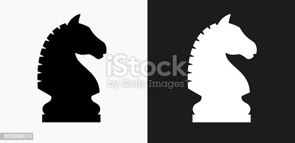 Chess Knight Icon on Black and White Vector Backgrounds. This vector illustration includes two variations of the icon one in black on a light background on the left and another version in white on a dark background positioned on the right. The vector icon is simple yet elegant and can be used in a variety of ways including website or mobile application icon. This royalty free image is 100% vector based and all design elements can be scaled to any size.