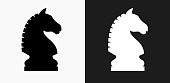 istock Chess Knight Icon on Black and White Vector Backgrounds 830999014
