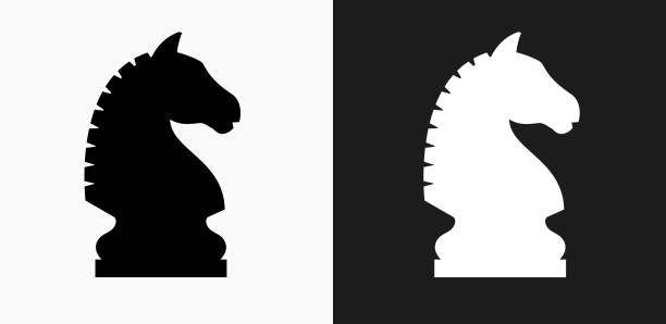 ilustrações de stock, clip art, desenhos animados e ícones de chess knight icon on black and white vector backgrounds - xadrez