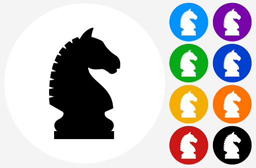 Chess Knight Icon on Flat Color Circle Buttons