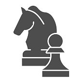 istock Chess knight solid icon. Chess horse vector illustration isolated on white. Equine glyph style design, designed for web and app. Eps 10. 1178138976