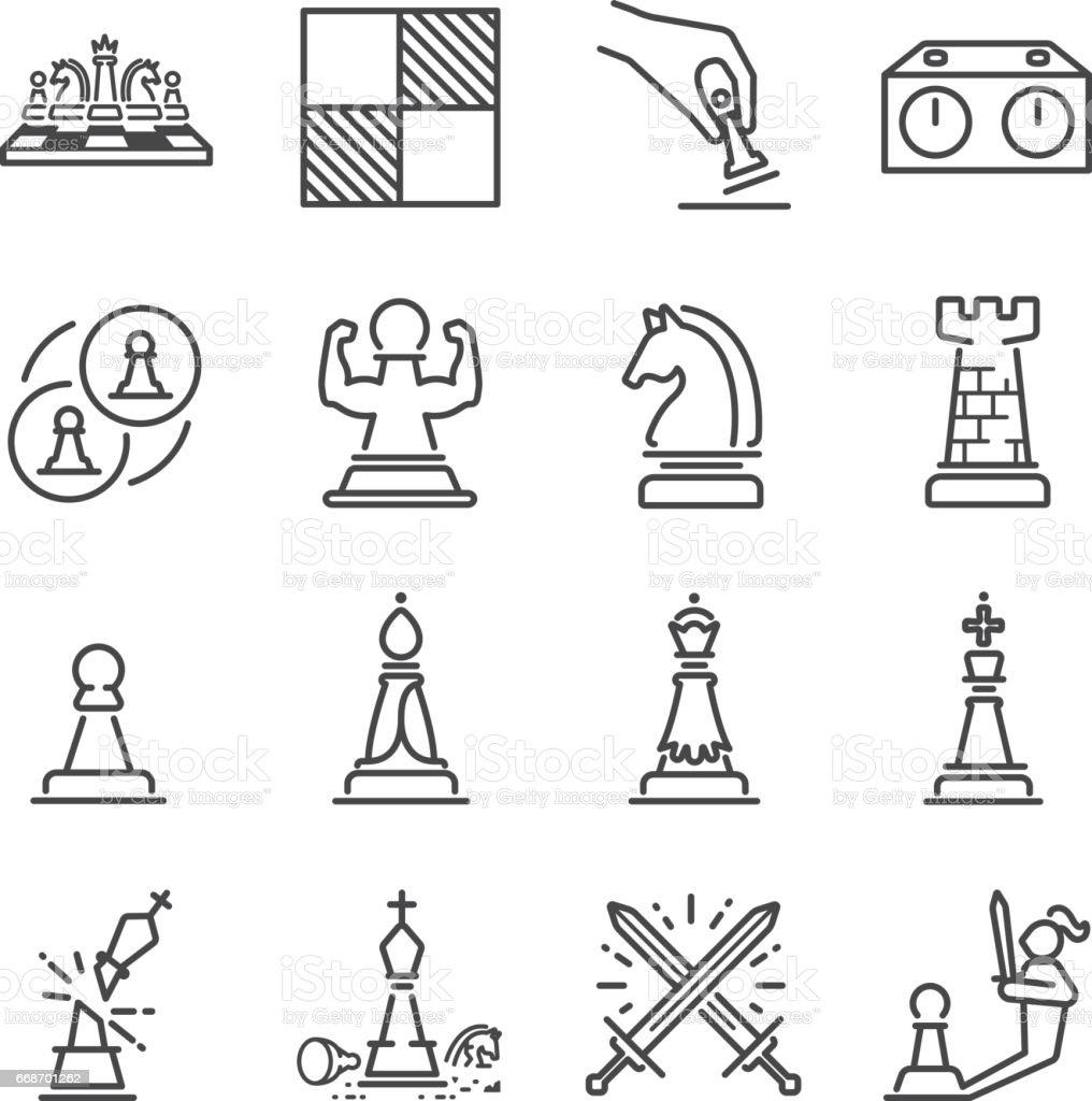 Chess line icon set vector art illustration