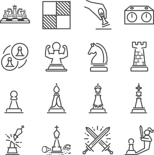 Chess line icon set Chess line icon set chess knight silhouette stock illustrations