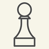 istock Chess Pawn line icon. Chess Piece outline style pictogram on beige background. Strategic board game for mobile concept and web design. Vector graphics. 1220806527