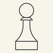 istock Chess Pawn thin line icon. Chess Piece outline style pictogram on beige background. Strategic board game for mobile concept and web design. Vector graphics. 1220806532