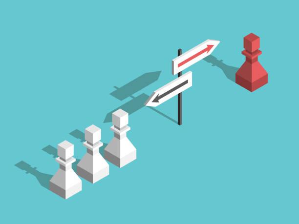 Schach Schachfiguren, verschiedene Richtungen – Vektorgrafik