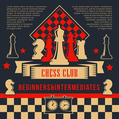 Chess pices with clock on chessboard. Sport club