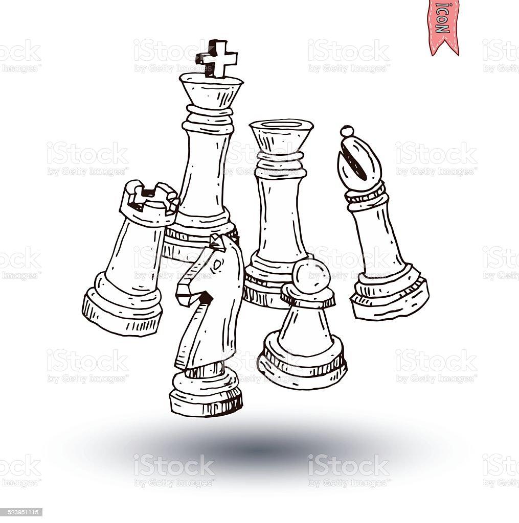 Chess Piece Hand Drawn Vector Illustration Stock Vector ...