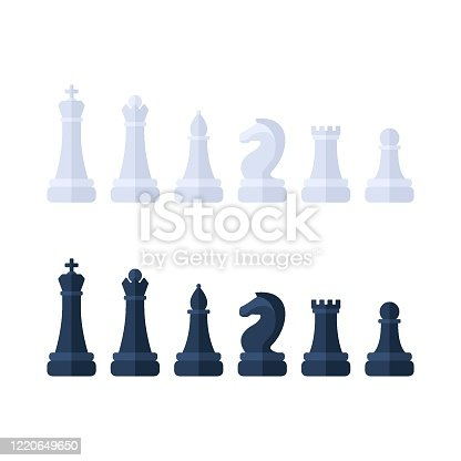 Chess piece icons. Board game. Black and white silhouettes isolated on white background. Logical tactical turn-based game, chess tournament, sport game, interests and hobby, highly intellectual occupation. Vector illustration