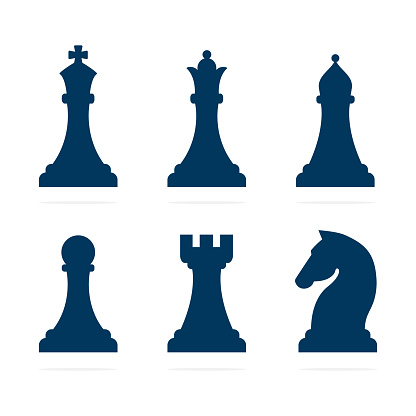 Chess piece icons set.