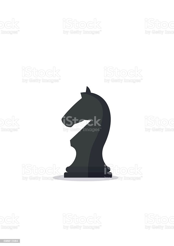 Chess piece knight icon isolated on white background. Black horse