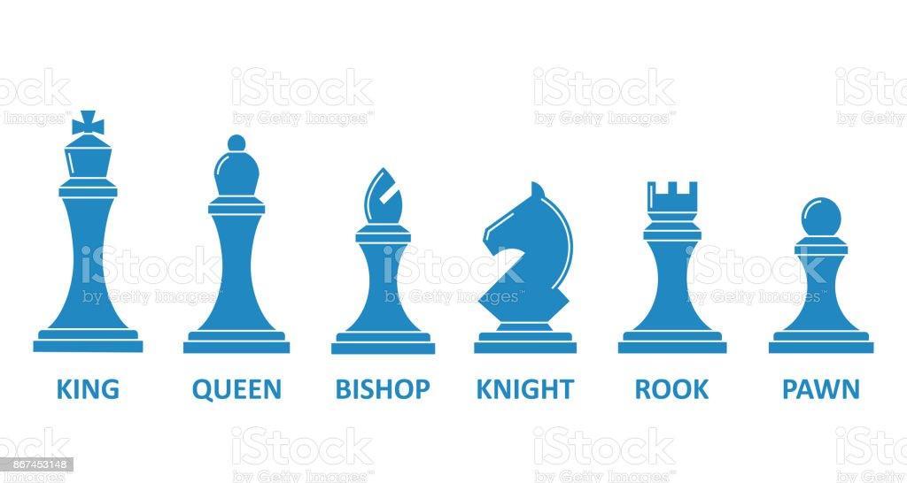 Chess piece name set vector art illustration