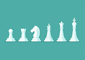 Chess piece vector icons set. king queen bishop knight rook pawn