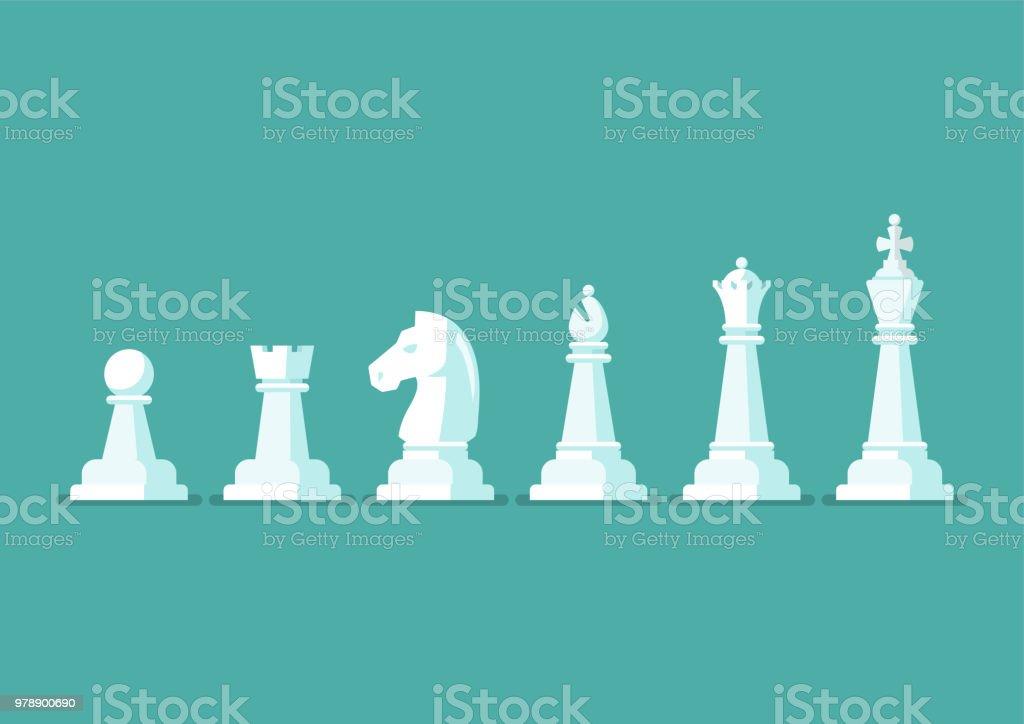 Chess piece vector icons set vector art illustration