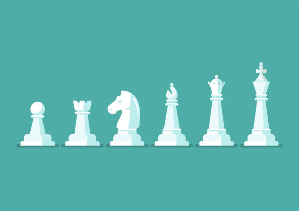 Chess piece vector icons set vector art illustration