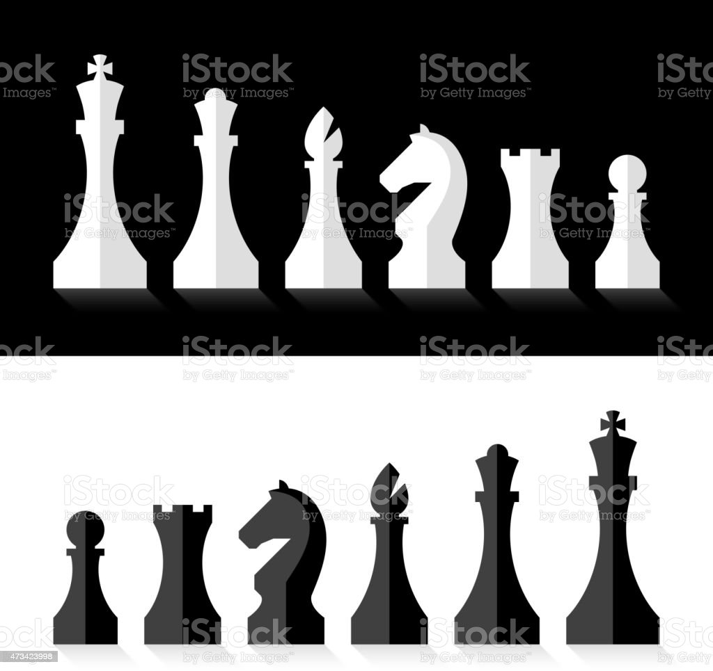 Chess pieces flat design style vector art illustration
