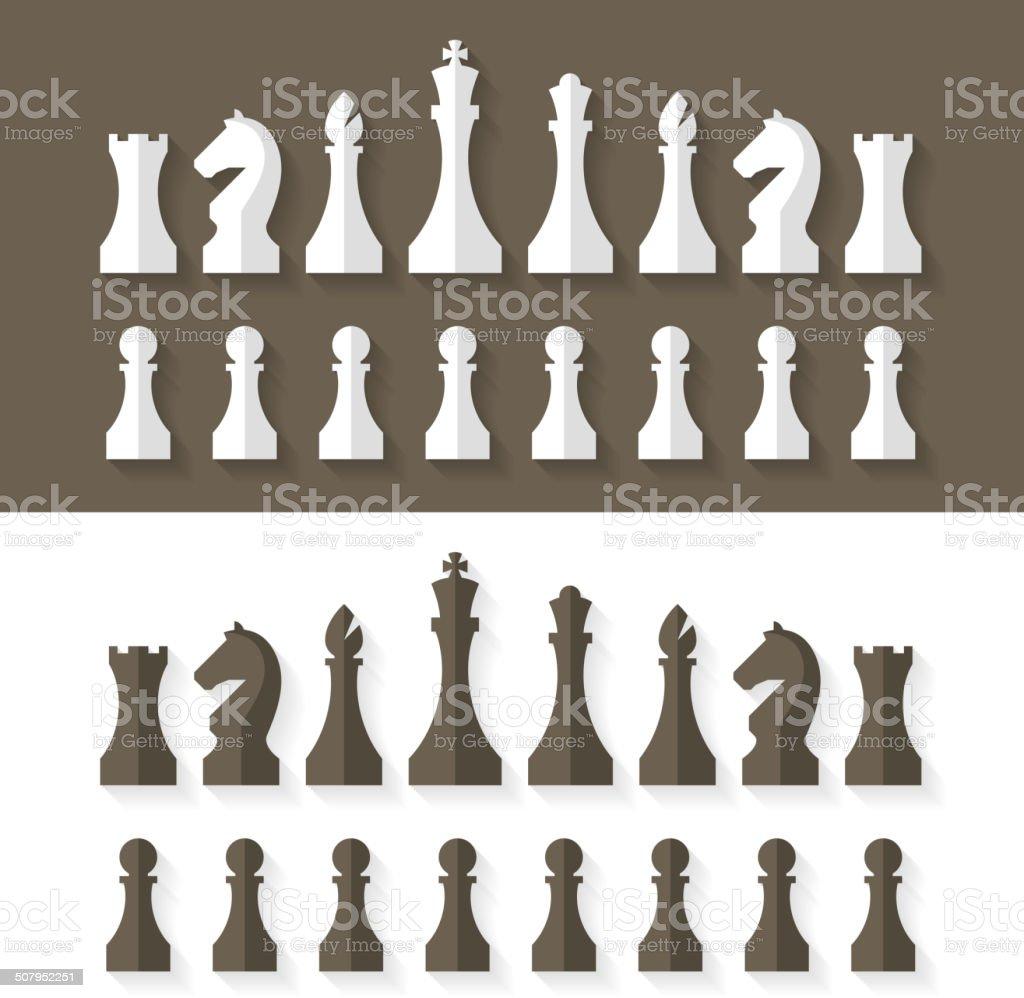 Chess pieces flat design style vector art illustration