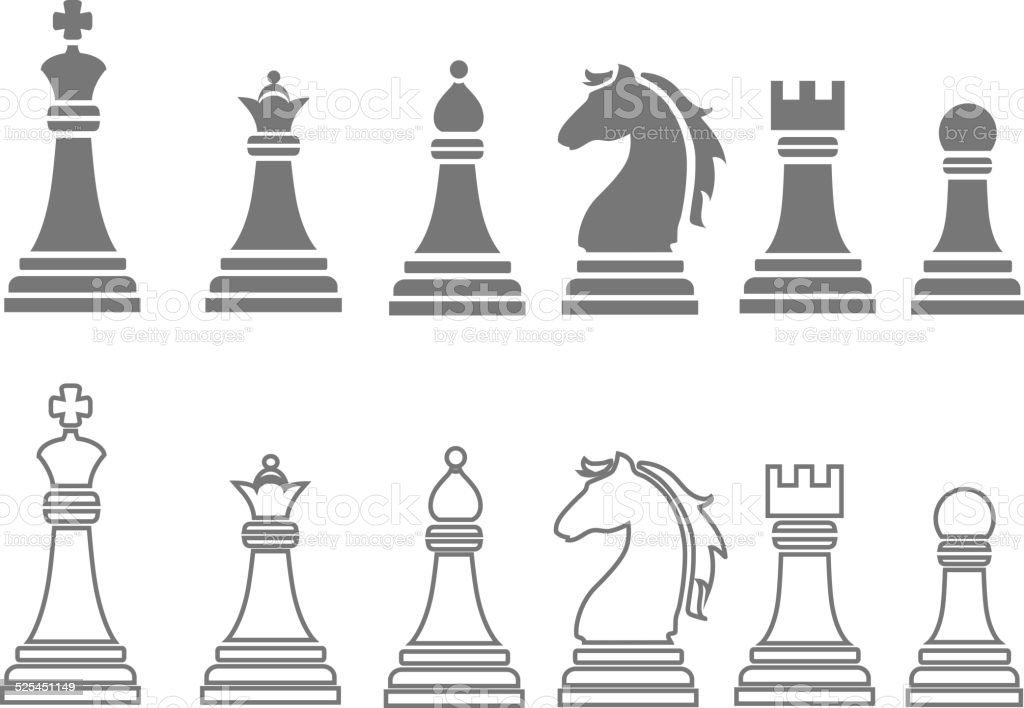 Chess Pieces Including King Queen Rook Pawn Knight And ...