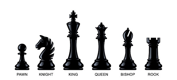 Chess pieces isolated on a white background. Vector illustration, eps 10