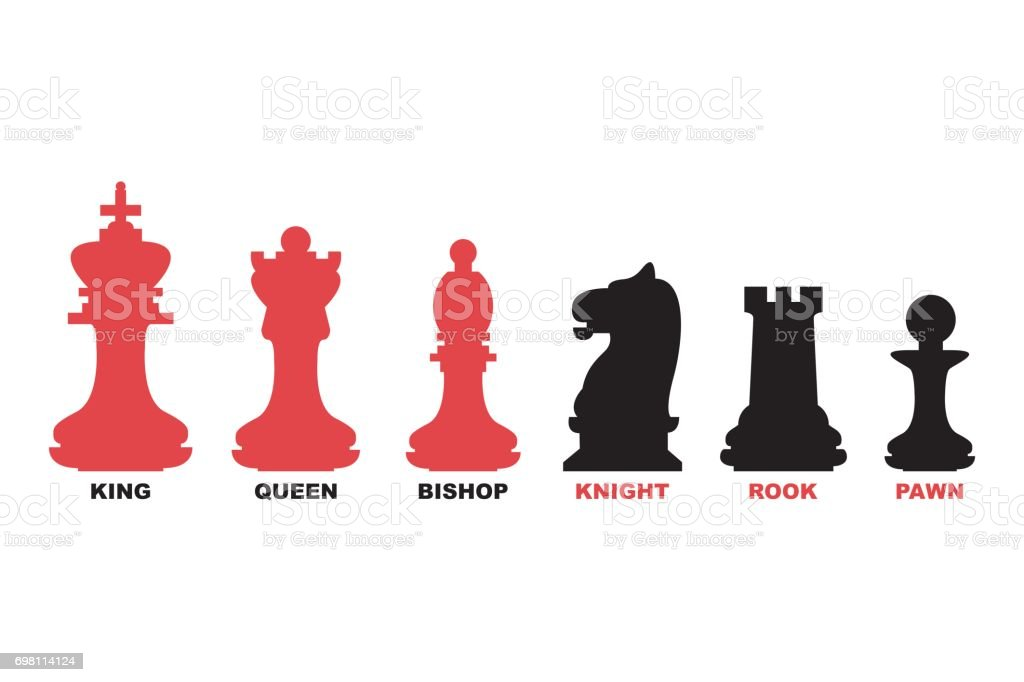 Chess Pieces King Queen Bishop Knight Rook And Pawn Icon ...