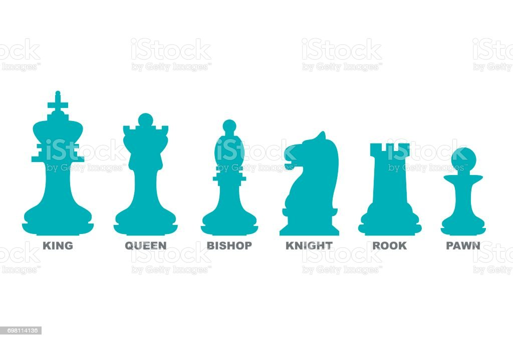Chess Pieces King Queen Bishop Knight Rook And Pawn Icon Set Stock