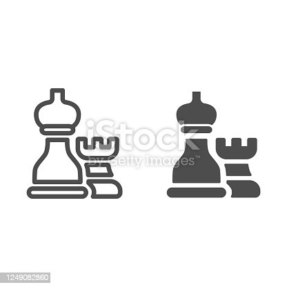 istock Chess pieces line and solid icon, business strategy concept, strategy and tactics sign on white background, Rook and bishop icon in outline style for mobile concept and web design. Vector graphics. 1249082860