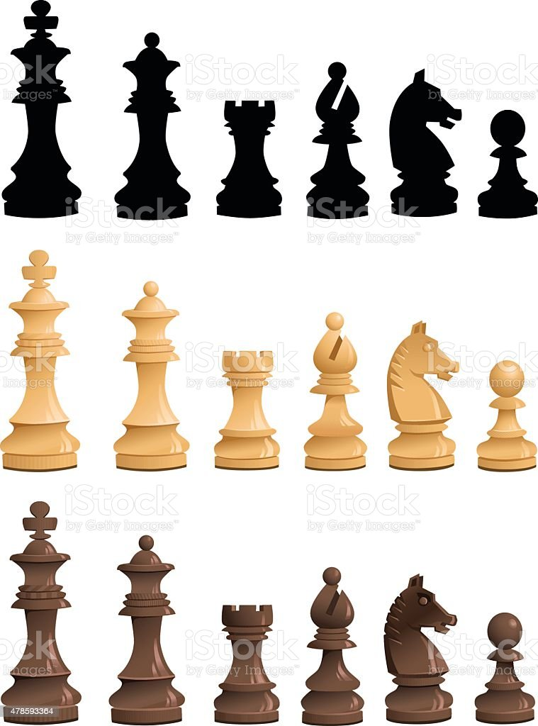 Chess Pieces Set - Black White Silhouettes vector art illustration