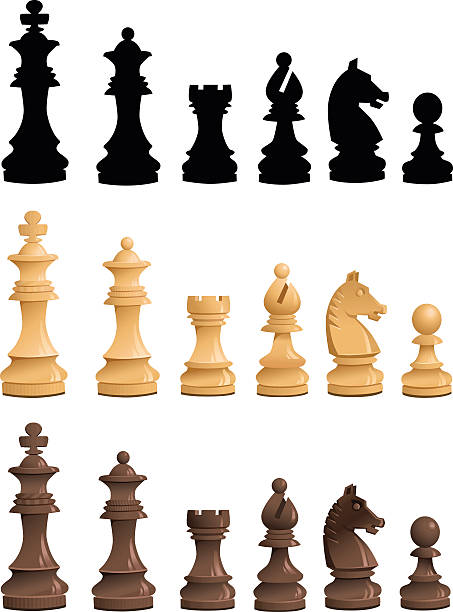 Chess Pieces Set - Black White Silhouettes All images are placed on separate layers. They can be removed or altered if you need to. Some gradients were used. No transparencies.  chess knight silhouette stock illustrations