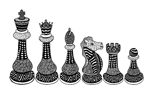 Chess Pieces Set Drawing - Illustration Chess, Chess Piece, Pawn - Chess Piece, Queen - Chess Piece, King - Chess Piece