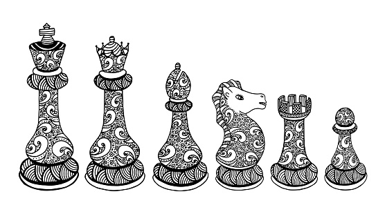 Chess Pieces Set Drawing - Illustration Chess, Chess Piece, Pawn - Chess Piece, Queen - Chess Piece, King - Chess Piece - Illustration