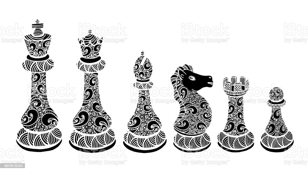 Chess Pieces Set Drawing Illustration Chess Chess Piece ...