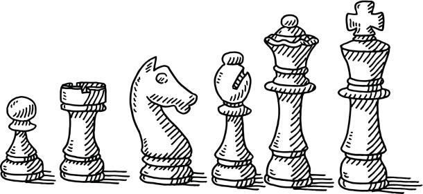 Chess Pieces Set Drawing