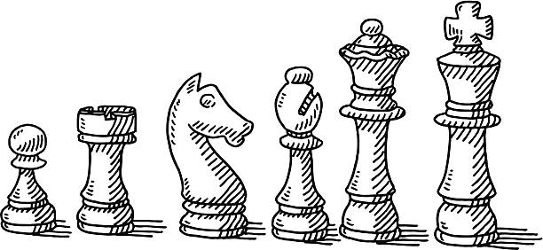 Chess Pieces Set Drawing Hand-drawn vector drawing of a Chess Pieces Set. Black-and-White sketch on a transparent background (.eps-file). Included files are EPS (v10) and Hi-Res JPG. chess knight silhouette stock illustrations