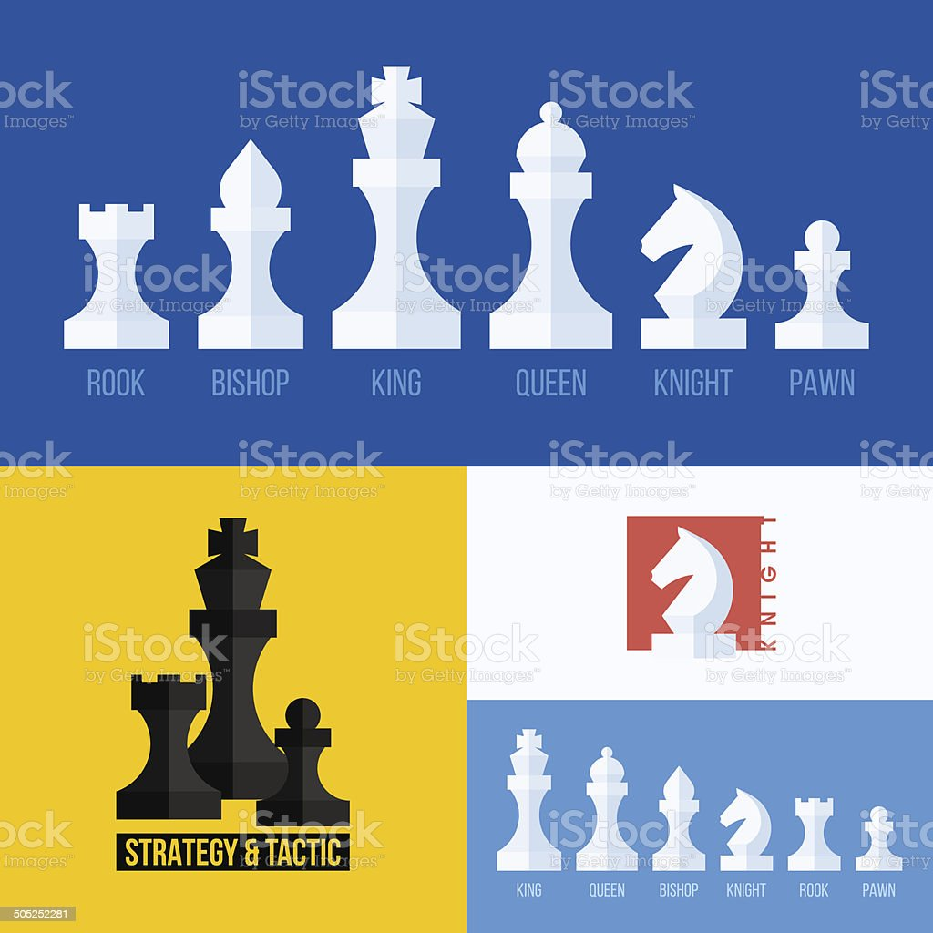 Chess pieces set including king, queen, bishop, knight, rook, pawn vector art illustration