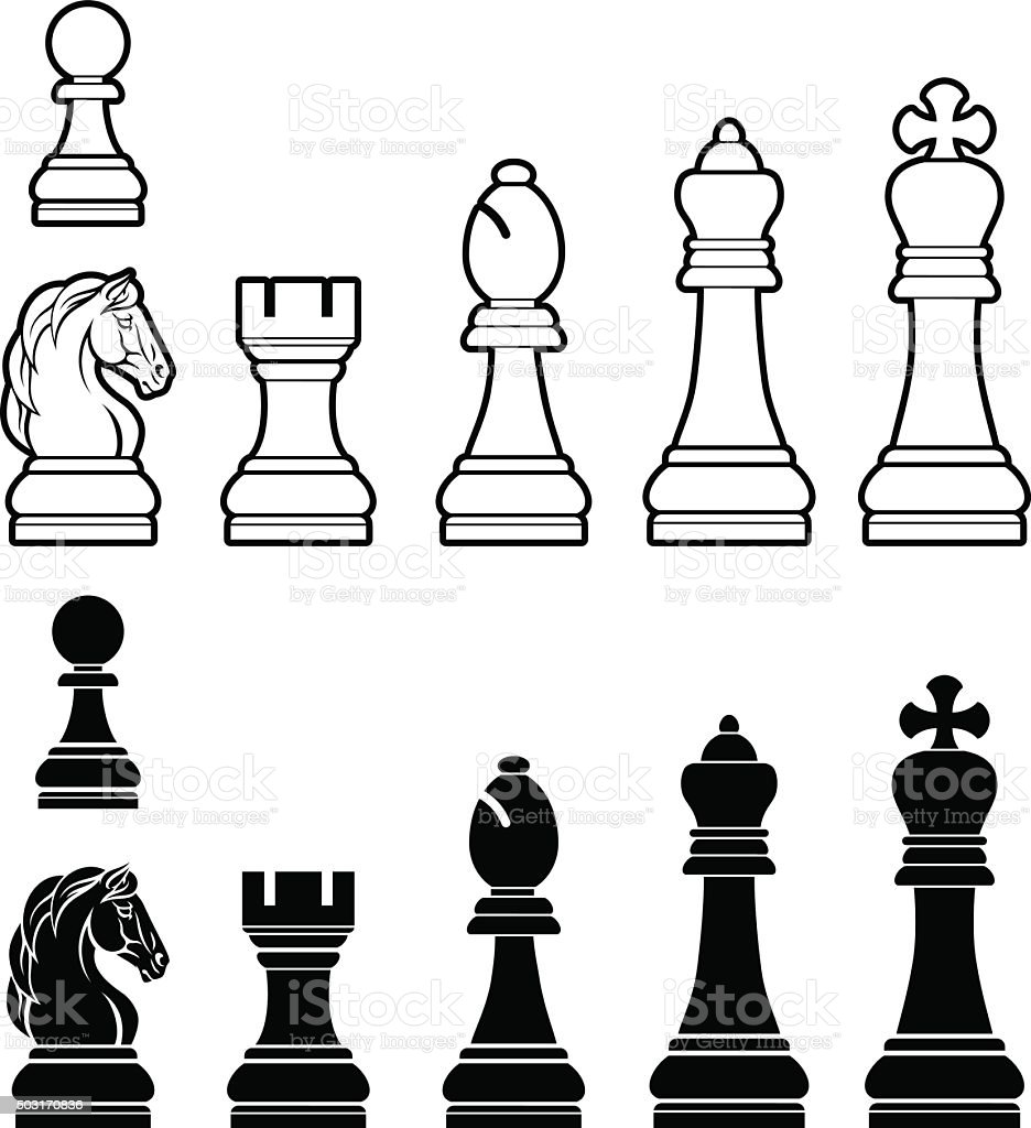 Chess pieces set vector art illustration