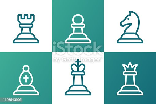 Chess pieces board game line drawings.