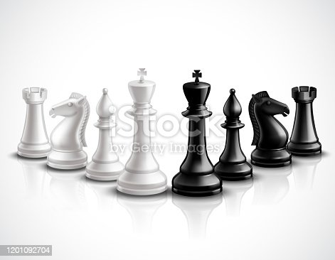 Realistic chess game pieces 3d icons set with reflection vector illustration