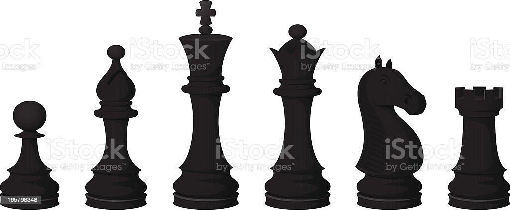 Chess Pieces (black) vector art illustration