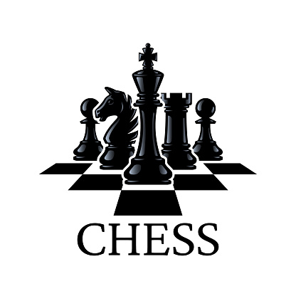 Chess pieces vector illustration. Chess Pieces: King, Knight, Rook, Pawns on a chessboard. Isolated on a white background